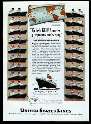 1947 SS S.S. America ship fleet art United States Lines travel print ad 3