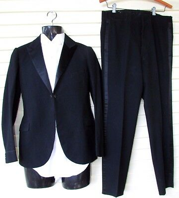 Vtg Antique Edwardian Black Wool Tuxedo Tails Blazer Jacket Button Up Pants 36