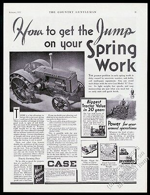 1932 Case Model L tractor photo vintage print ad