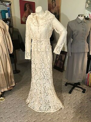 Stunning Antique Vtg. Bias Cut 3 Pc. 1930's Cream Lace Wedding Gown
