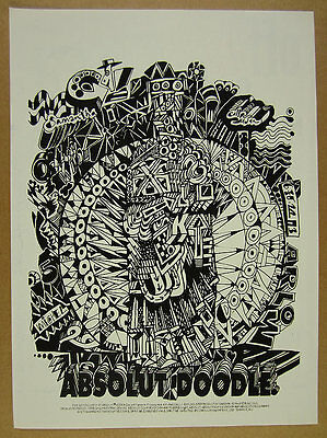 1993 Absolut DOODLE doodling drawing art vintage print Ad