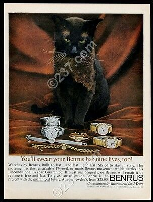 1960 dark brown cat photo Benrus watch 7 models vintage print ad