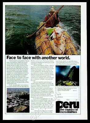 1981 llama in reed boat photo Peru travel vintage print ad