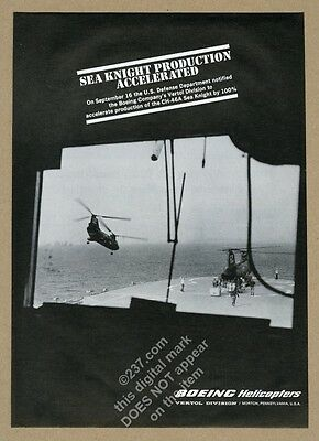 1965 US Navy Marines photo Boeing Sea Knight helicopter vintage print ad