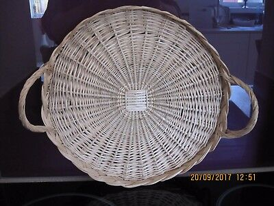 Vintage,large Wicker,handled  Serving Tray,lovely Condition
