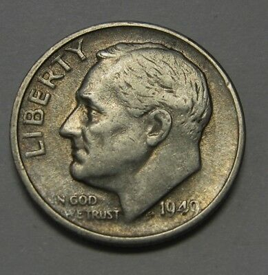 1949-S Silver Roosevelt Dime in Average Circulated Condition    DUTCH AUCTION
