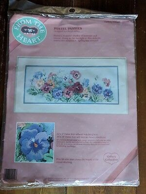 VINTAGE EARLY 1990's 'FROM THE HEART' PASTEL PANSIES CREWEL EMBROIDERY KIT 51049