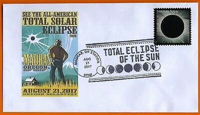 Total Eclipse of the Sun. Madras, Oregon Station. 8/21/17. Postal Event Cover