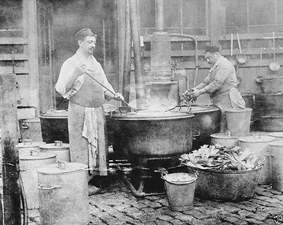 Belgium two men making soup in a large vat 1914 World War I WWI 8x10 Photo