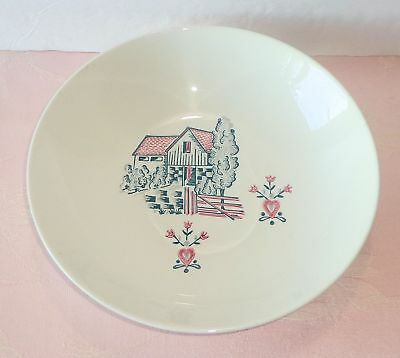 "Vintage Marcrest Red Barn MCR5 Round Serving Bowl 8 7/8"" Red Green Farm Stetson"