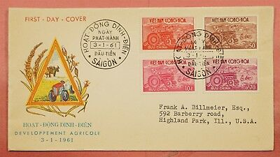 1961  Fdc Cover Vietnam Agricultural Development Issue