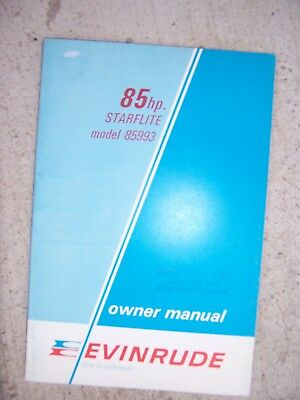 1969 Evinrude 85 HP Starflite Model 85993 Outboard Owner Manual MORE IN STORE  S