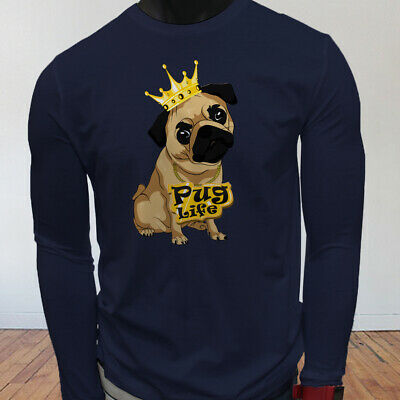 Funny Crown Dog Lovers Animal Cute Pug Life Cartoon Mens Navy Long Sleeve TShirt