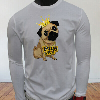 Funny Crown Dog Lovers Animal Cute Pug Life Cartoon Men White Long Sleeve TShirt