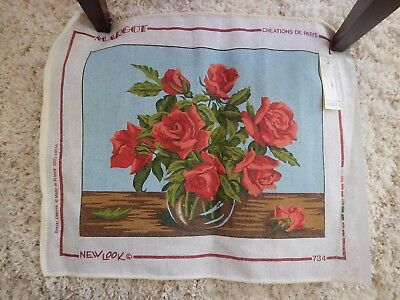"""Vintage MARGOT Needlepiont Canvas #734 Bouquet of Roses:20"""" x 24"""" Made In France"""