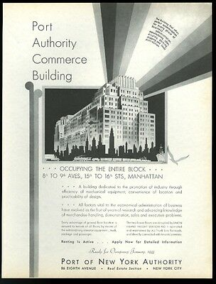 1932 Port Authority of New York building Wally Cole art vintage print ad