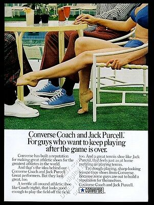 1973 busty woman bikini photo Converse Coach and Jack Purcell shoes print ad