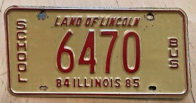 """1984 1985 Illinois School Bus License Plate """" 6470 """" Il 84 Low Number Pupil"""