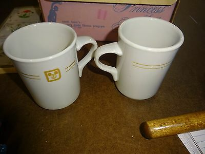 Vtg Mayer China Co Beaver Falls PA USA 482 set of 2 Coffee Cups with Disney Logo