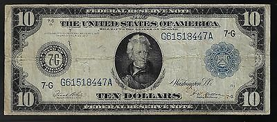 1914 $10 Ten Dollar Large Bill Federal Reserve Note  CHICAGO ILLINOIS