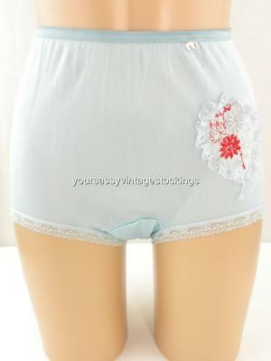 Sassy Vintage Blue Acetate Full Cut Panties W/lace Embroidered Applique Nos Med