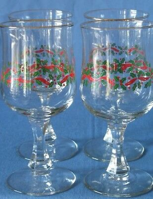 4 Arbys Libbey Holly Berry Ribbon Christmas Goblets Glasses Faceted Pedestal