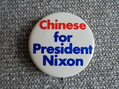 Vintage Chinese for President Nixon Political Campaign Pinback Button