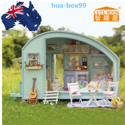 Xmas Gift DIY Wooden Toy Doll House Miniature Kit Caravan Dollhouse Music Box AU