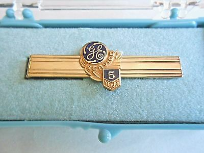 Vintage GE General Electric 5 Years Service Employee 12K GF Anson Tie Bar Clasp