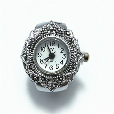 Fashion Creative Girl Tibet Silver Petal Flower Quartz Finger Ring Watch Jewelry