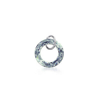Silver Donut Shape Clear Crystal Charm 25mm Pendant Made with Swarovski Elements