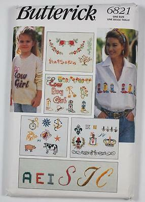 Butterick 6821 Embroidery Transfers Fabric Painting NEW