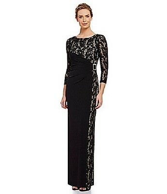 Nwt TAHARI Women's Black Nude Lace Faux Wrap Slimming Gown Dress Long Sleeves