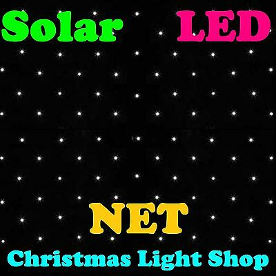 Solar WARM WHITE Net Lights 150 LED Flashing Outdoor Christmas Tree Garden Deco