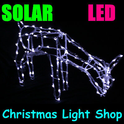 Solar Reindeer Silhouette FEEDING DEER Outdoor Christmas 100 White LED Lights