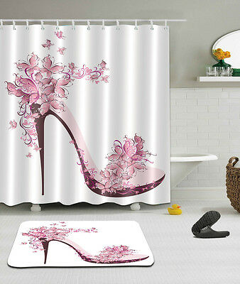 Pink High heels Theme Waterproof Fabric Shower Curtain 12 Hooks With Bath Mat