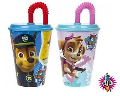 Paw Patrol Children's Plastic Tumbler Cup Mug With Lid And Straw