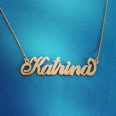 56a03902acb9a 14 CT GOLD Name Necklace - Personalized Custom Made Nameplate For ...