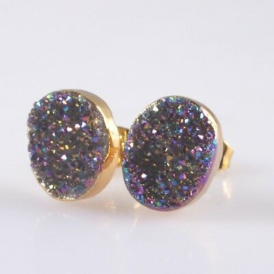 11x9mm Oval Natural Agate Titanium Druzy Stud Earrings Gold Plated B044067
