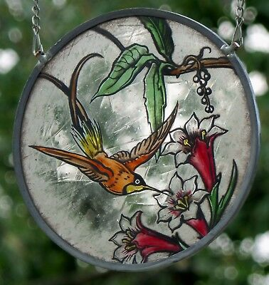 """LEADED GLASS WINDOW Image Suncatcher Stained """" Hummingbird on Real Antique"""