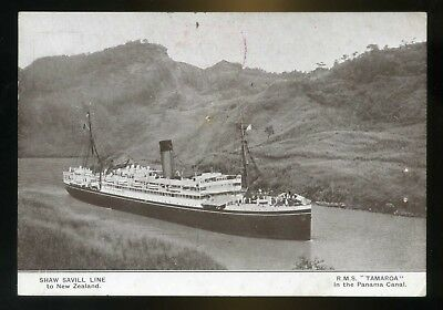 1952 RMS Tamaro in Panama Canal postcard Pitcairn Island stamps to Wallasey UK