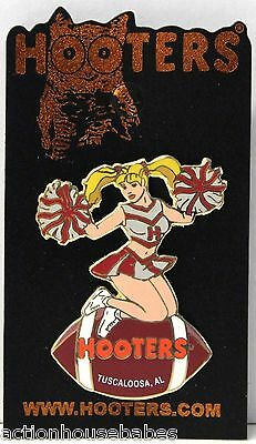 Sexy HOOTERS  Girl Cheerleader Football TUSCALOOSA, AL Label Pin - NEW