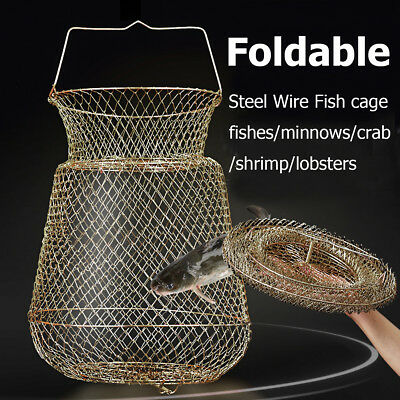 Foldable Portable Steel Wire Fishing Pot Trap Net Crab Crawdad Cage Fish Basket
