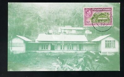 1956 Pitcairn Island postcard - New school 8d stamp obverse
