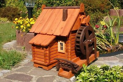 Beautiful Large Water Mill Wooden in Log Cabin Style XXL, Garden, Pond
