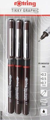 Rotring Tikky Graphic 3 Pen Set- 0.1/0.3/0.50mm