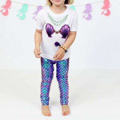 Baby Girls Fish Scale Mermaid Skinny Leggings Slim Pants Trousers Fashion US