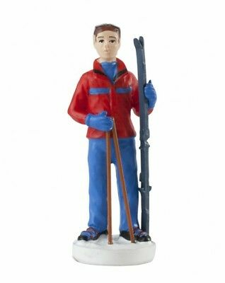 SKIER / SKIING FIGURE CAKE DECORATION / TOPPER FIGURINE - FREE 1st CLASS POST