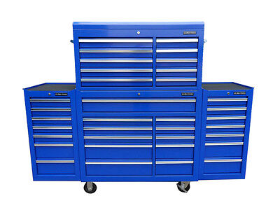 22 US PRO Tools Blue Tool Chest Box Steel Drawers Snap It Up 2 side cabinet 75""