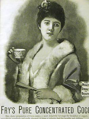 WOMAN DRINKING CUP OF FRY'S PURE COCOA AD 1889 Advertising Matted
